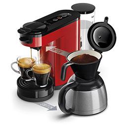 Machine à café Senseo Switch -  rouge + verseuse isotherme - capacité 1L 7 tasses - 1450W - L15 x H27 x P40 cm (photo)