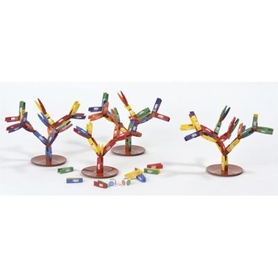 Tricky Forest Culture Club - pour 1 à 8 enfants - mini pinces assorties - 4 bases d'arbre - boîte de 72