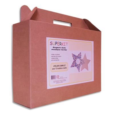 Bougeoirs étoile Culture Club  - bois - 14x14 cm - à décorer avec mosaïque nacrée 5x5mm assortie - kit d'activité de 12 (photo)