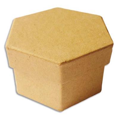 Boîte Graine Créative - forme héxagonale- carton - 90x90x50 mm - à décorer (photo)