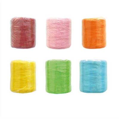 Bobines Graine Créative - raphia synthétique - 40g - rouge, rose, orange,vert, bleu, jaune - lot de 6 (photo)