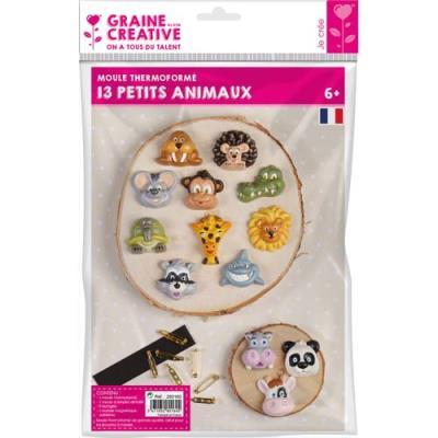 Moules Graine Créative animaux - 9 broches et 1 bande aimantée - lot de 13