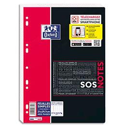 Feuillets mobiles Oxford SOS Notes - 21 x 29,7 cm - petits carreaux - 400 pages