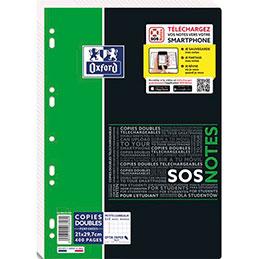 Copies doubles Oxford SOS Notes - 21 x 29,7 cm - petits carreaux - 400 pages (photo)