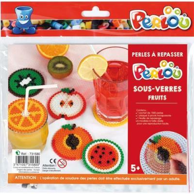 Perles Perlou à repasser - couleurs assorties - 1 plaque - 5 modèles dessous de verre - fruit - kit d'activité de 1500 (photo)