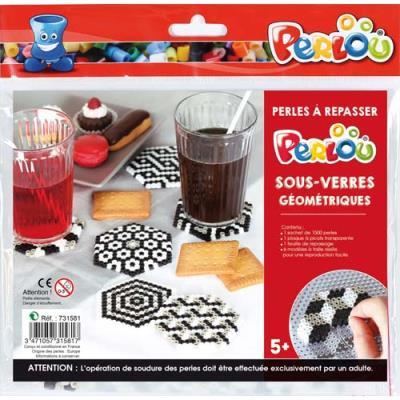 Perles Perlou à repasser - couleurs assorties - 1 plaque - 5 modèles dessous de verre géométrique - kit d'activité de 1500 (photo)