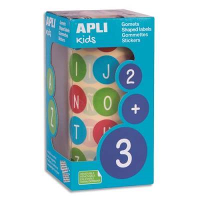 Rouleaux de gommettes Agipa - abc majuscules - 20mm - couleurs assorties