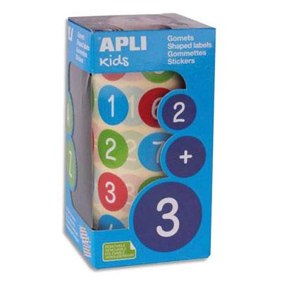 Rouleaux de gommettes Agipa - chiffres - 20mm - couleurs assorties