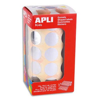 Rouleaux de gommettes Agipa - rondes - 20mm - couleur argent