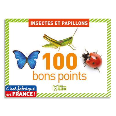 Bons points Lito Diffusion - thème insectes et papillons - lot de 100 (photo)
