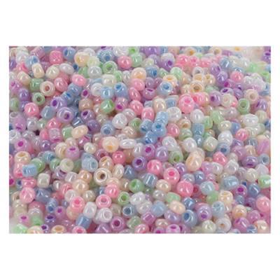 Perles O Color - rocailles irisées - diamètre 2,5mm - couleurs assorties - bocal de 500 (photo)