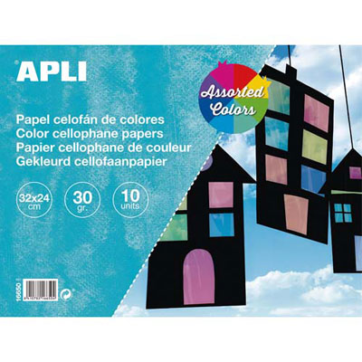 Feuilles Apli - 32x24cm - cellophane vitrail - couleurs assorties - pochette de 10 (photo)