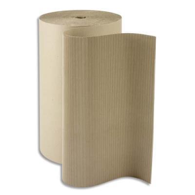 Rouleau de carton Raja - 19 kg - 312 g/m² - L80 x H0,8 m - diamètre 50 cm - ondulé écru (photo)