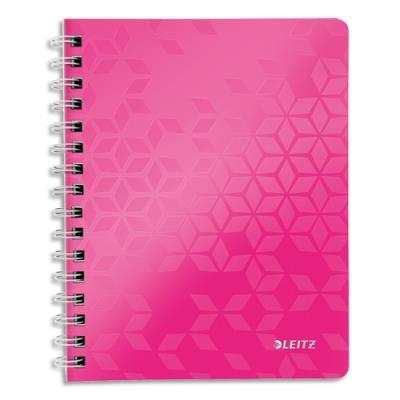 Cahier spirales Leitz Wow - A4 - 160 pages détachables 80 g - 5x5 - couverture polypropylène rose