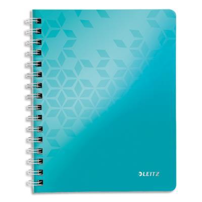 Cahier spirales Leitz Wow - A4 - 160 pages détachables 80 g - 5x5 - couverture polypropylène menthe