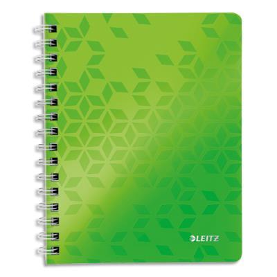 Cahier spirales Leitz Wow - A4 - 160 pages détachables 80 g - 5x5 - couverture polypropylène vert