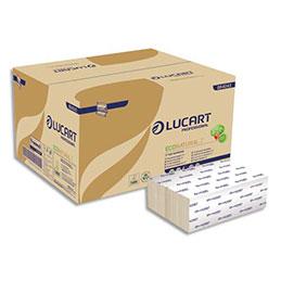 Essuie-mains Lucart EcoNatural Havane -  2 plis en Z - 200 formats 24 x 22,5 cm - colis de 15 paquets (photo)