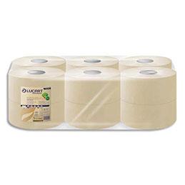 Papier toilette Lucart Jumbo EcoNatural Havane 2 plis - L180m - 750 feuilles - colis de 12 rouleaux (photo)
