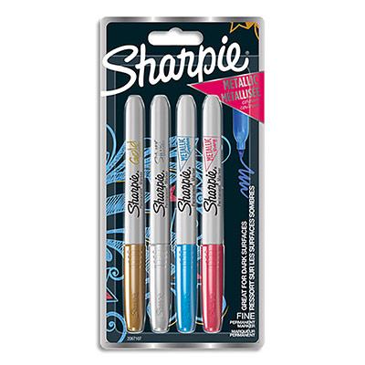 Marqueur Sharpie - fine - mettalic -or, argent,bleu, rouge - lot de 4
