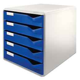Module de classement Leitz - 32,6 x 32,1 x 32,6 cm - 5 tiroirs - gris/bleu