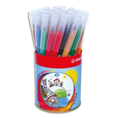 Pot de 36 feutres de coloriage Stabilo Trio - pointe moyenne - couleurs assorties