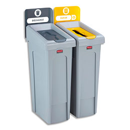 Station de recyclage Rubbermaid Slim Jim - 61 x 102,2 x 54,6 cm -2 bacs de 87 L + 10 étiquettes autocollantes