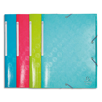 Chemise 3 rabats à élastiques Oxford Topfile+ - carte lustrée - A4 - coloris pastels assortis - lot de 5