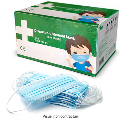 Masque chirurgical enfant 3 plis classe 1 type 1 - boîte de 50