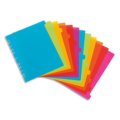 Intercalaire Viquel Happyfluo - polypropylène - A4 maxi - jeu de 12 - coloris fluo multicolores (photo)