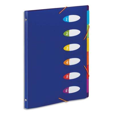 Trieur Viquel Happy fluo - PP 5/10e - 6 touches - dos riveté - bloc perforé - A4 - coloris bleu