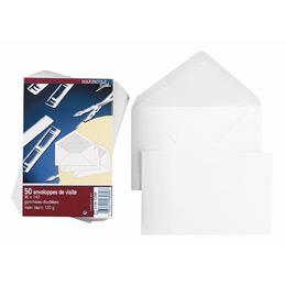 Enveloppes de visite 90x140- vélin blanc - gommées-doublées - 120 g - paquet de 50 (photo)