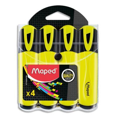 Surligneur Maped Fluo'peps classic - pochette de 4 - coloris unique jaune