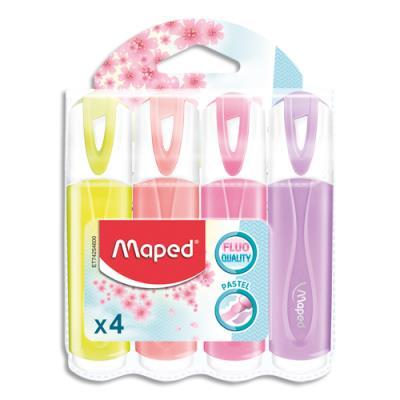 Surligneur Maped Fluo'peps classic pastel - pochette de 4 - coloris assortis