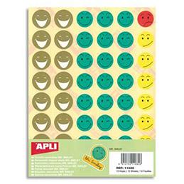 Sachet de 12 planches de gommettes enlevables Smiley