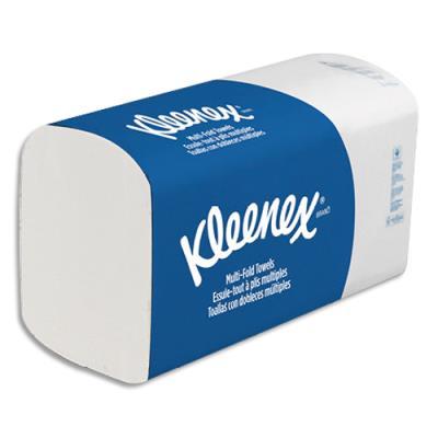 Essuie-mains Kleenex Ultra doux extrême - 2 plis - pliage en Z - colis de 15 paquets de 124 - Ft 21,5x31,5 cm - Blanc