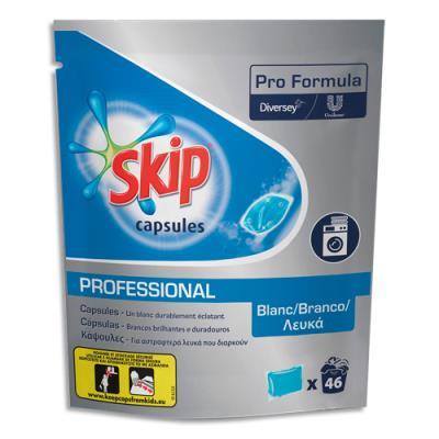 Capsules Skip de lessive liquide - pour linge blanc - dans 4 sachets refermables de 46 dosettes - carton de 185 (photo)