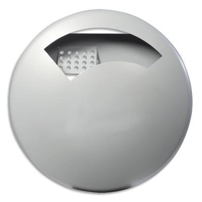 Cendrier mural Rossignol Disco - 0,5l - gris métal à fixer - grille intérieure + autocollant - D18,5 x P4,2 cm (photo)