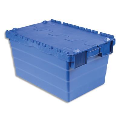 Bac de rangement navette Viso Spacy - polypropylène - 54 L - gerbable - poignées - bleu - Dim L60 x H32 x P40 cm (photo)