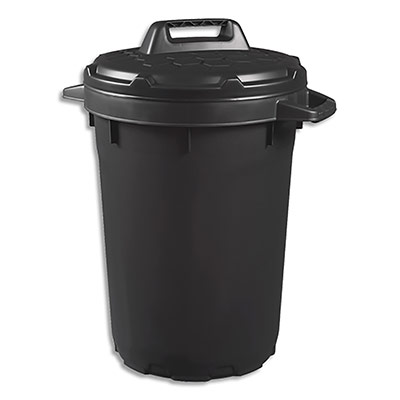 Poubelle Cep - polypropylène - 90 l - couvercle à verrou tournant - noir - diamètre 49 x hauteur 75 cm