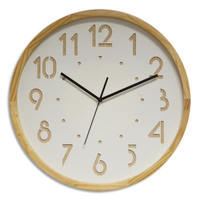 Horloge Orium Oslo à cadran - chiffre en bois - blanc - contour bois - mouvement quartz - D41,6 cm x P4,5 cm