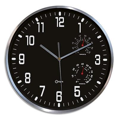Horloge Orium Thermo-Hygro à cadran - chiffres blancs - noir - aluminium - quartz sweep - D30 cm x P5 cm