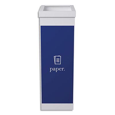 Corbeille de tri séléctif Paperflow - polystyrène - 60 l -déchet papier -bleu, blanc - L36,3 x H76 x P26,3 cm
