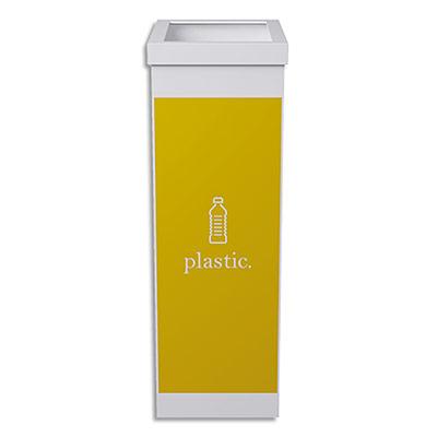 Corbeille de tri séléctif Paperflow - polystyrène - 60 l -déchet plastique -jaune, blanc - L36,3 x H76 x P26,3 cm