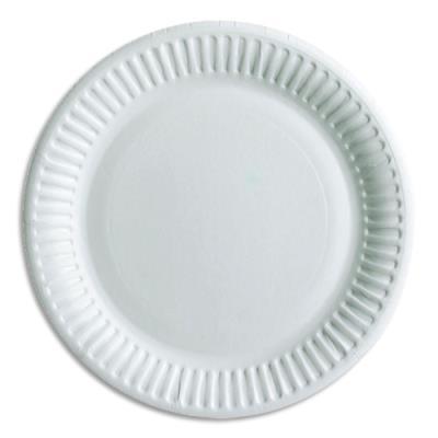 Assiette Huhtamaki - carton - blanc - sans péliculage - diamètre 15 cm (photo)