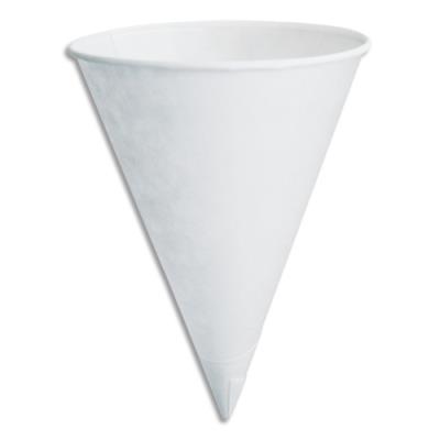 Cône en papier Huhtamaki - 12cl - pour boissons froides - blanc - boîte de 200 - diamètre 7 x hauteur 10 cm (photo)