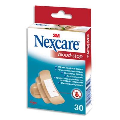 Pansements Nexcare Blood-Stop assortis - micro-aéré - avec compresse hémostatique non tissée - boîte de 30 (photo)