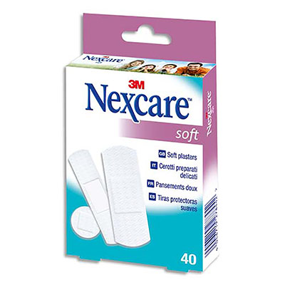Pansements Nexcare Soft assortis - micro-perforé - non tissée - compresse absorbante -  boîte de 30 (photo)