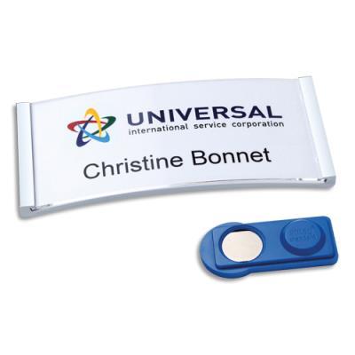 Badges Avery polar® aimanté - argent - 70 x 30 mm - 54 inserts imprimables 30 x 65 mm - boîte de 10