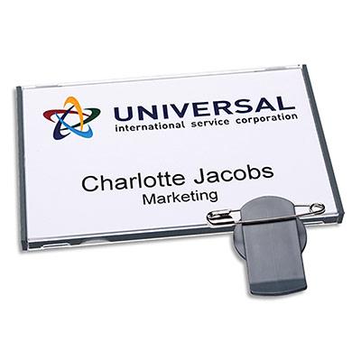 Badges Avery vista® avec combi rotatif - gris - 78 x 50 mm - 30 inserts imprimables 47 x 75 mm - boîte de 20