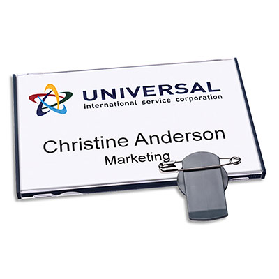Badges Avery vista® avec combi rotatif - gris - 89 x 57 mm - 30 inserts imprimables 54 x 85 mm - boîte de 20